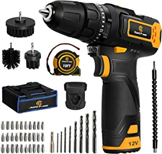 Cordless Drill, 12V Impact Drill Set with Dual-Speed, 21+1+1 Torque Settings, 1H Fast Charge, 3/8'' Keyless Chuck, 41pcs A...
