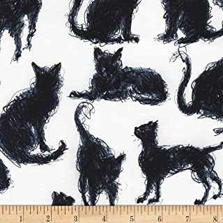 Timeless Treasures Scribble Cats Milk Fabric by The Yard
