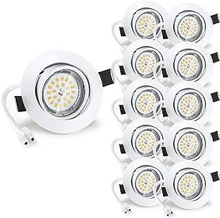 Wowatt 10 X Spots Encastrables Gu10 Blanc 6W Equivaut 50W Ampoule Halogène Spot LED Encastrable 2800K Blanc Chaud Plafonni...