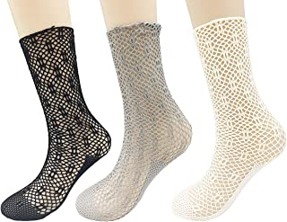 3Pairs Womens Knee High Hollow Out Fishnet Socks Elastic Party Dress Sock