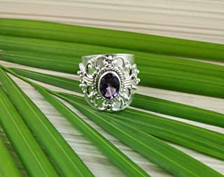 Amethyst Silver Ring, Ring, Silver Ring, Handmade Silver Jewelry for women, Gem Stone Ring, 925 Solid Sterling Silver Amethyst Ring Size 4 to 14 US