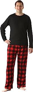 QueenHandsMen QueenHands Mens Flannel Stitching Lapel Button Down Leisure Pajama Lounge Set