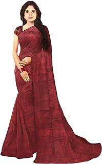 KLM Fashion Mall Women's Fancy Cotton Silk Saree (Maroon)