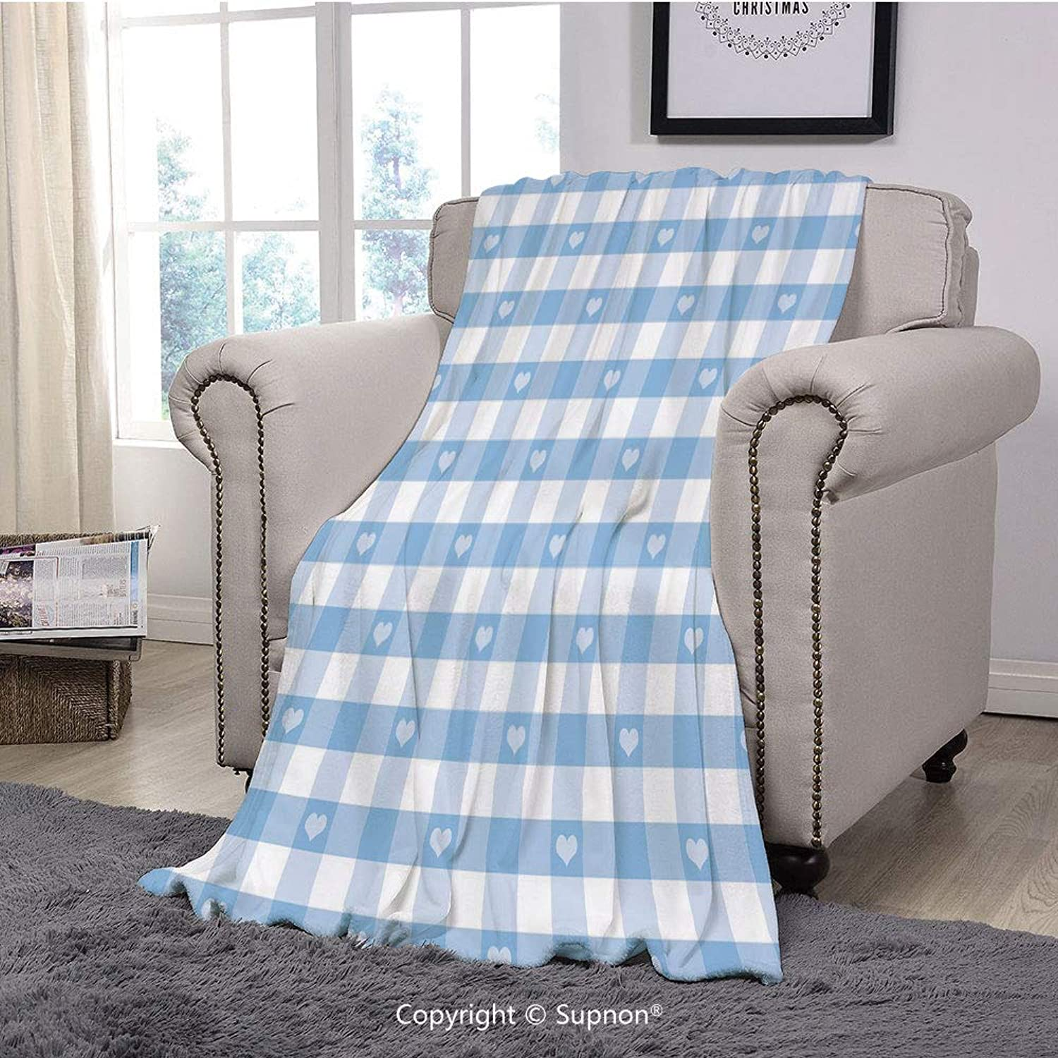 Throw Blanket Super Soft Fuzzy Light Blanket,Checkered,Gingham Motif with Cute Little Hearts Pastel bluee Baby Shower Kids Theme,Light bluee White(51  x 51 )