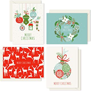 Merry Christmas Cards Boxed Set: Classic Retro Holiday Card Collection (Holiday Cards Box Set + Envelopes) - 4 Unique Assorted Christmas Designs - Proudly Made in the USA By Palmer Street Press (12)