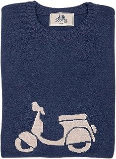 SCOTTA 1985 | Jersey de Punto de algodón Color Marino en Espiga con Jacquard de Moto en Marino | Azul