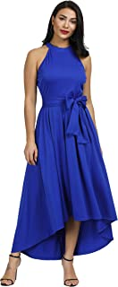 Annystore Women Sleeveless Belted Asymmetrical High Low Homecoming Party Maxi Dress