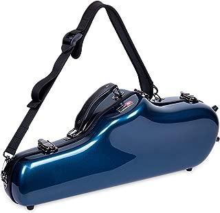 Crossrock Alto Saxophone Case-Fiberglass Hardshell with Backpack Straps in Blue