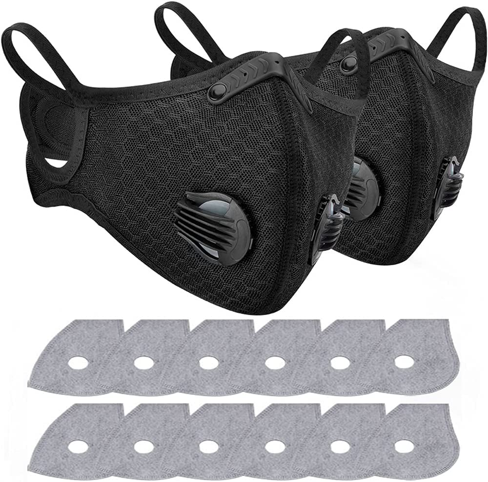 2 Pack Anti-pollution Cycling Face Cover with 12 Pack Activated Carbon Filters Dust Proof Washable Sports Outdoor Mouth Face Guard