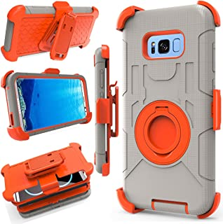 J.west Galaxy S8 Plus Case, [Kickstand] Armor Holster Defender Full Body Protective Hybrid Case Cover with Belt Clip for Samsung Galaxy S8 Plus 2017 Release(6.2 inch) Orange