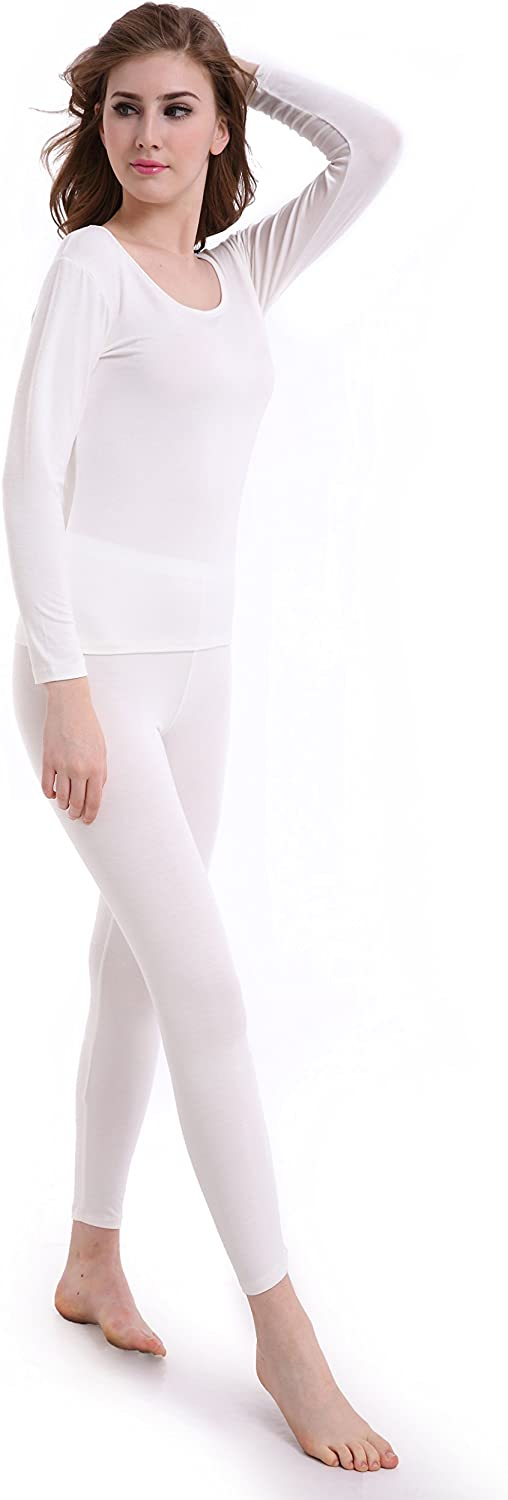 Womens Thermal Underwear Set Ultra Thin Crew Neck Base Layer Stretch Long Johns