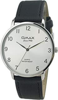 Omax #HX02P62K Men's Leather Strap Wrist Watch, Analog Display, Japanese Quartz Movement, Buckle Clasp, 3 ATM Water Resistant (Black Strap Silver Dial Silver Face)