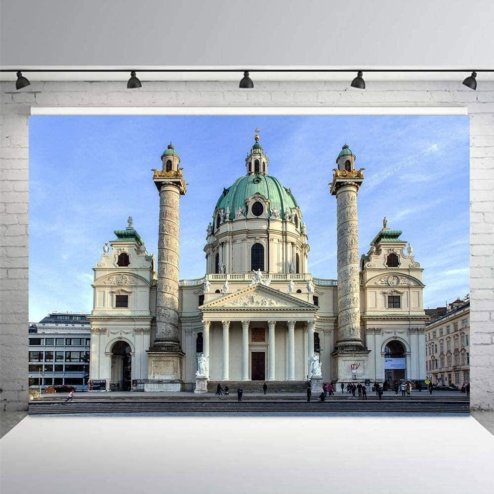 Zhy 7x5ft Polyester Photography Backdrop Classic Buildings Background Studio Portrait Vacation Vinyl Photo Backdrop Props 350