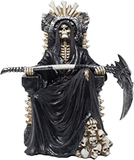 Evil Grim Reaper on Bone Throne Statue with Scythe and Skull Accents for Scary Halloween Decorations or Spooky Gothic Decor Sculptures & Figurines As Fantasy Gifts for Man Cave
