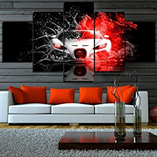 TUMOVO Paintings for Living Room Panels Abstract Car Pictures Fire Car Wall Art 5 Panel Canvas Contemporary Artwork Home Decorations Wooden Framed Gallery-Wrapped Stretched Ready to Hang(60''Wx32''H)