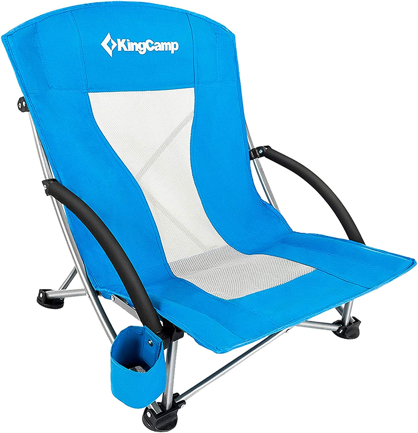 Amazon.com: KingCamp Low Seat Beach Chair, Outdoor Camping Folding Chair  with Cup Holder, 3 Colors : Everything Else