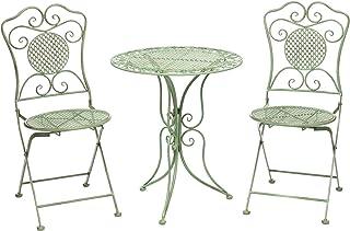 aubaho Jardín Conjunto Mesa y 2 sillas de la antigüedad del Hierro de Estilo Muebles
