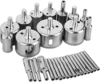 Best Sunjoyco Diamond Drill Bits, 30 PCS Glass Hole Saw Drill Bit Set Cutting Remover Tools for Glass Porcelain Tile Ceramic Marble Granite Bottles DIY (6mm-50mm) Review