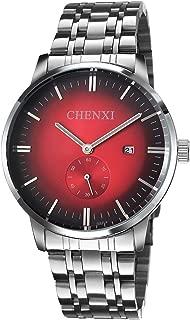 Men's Watch Blue Face Simplicity Analog Watches Silver Stainless Steel Men's Date Quartz Wristwatch