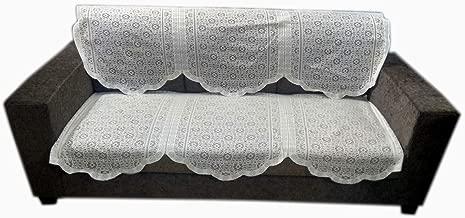 Topaz Furnishings Polycotton Unique Design Sofa Covers for Three Seat, Set of 2, Cream Colour