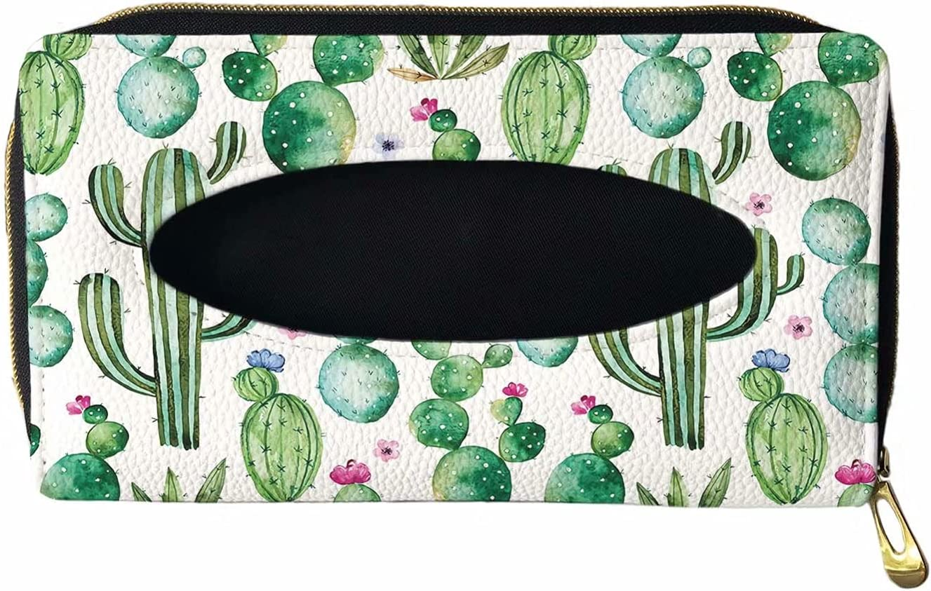 GIFTPUZZ Green Cactus Print Car Visor Max 81% OFF PU Tissue Holder Year-end gift Leather