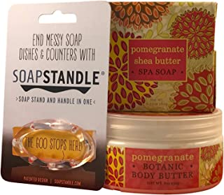 Greenwich Bay Trading Company Soap and Lotion Spa Gift Set with Soapstandle Soap Holder, 3 Items-One 6 Ounce Soap, One 8 Ounce Body Butter, and One Soap Dish all in a Gift Bag (Pomegranate)