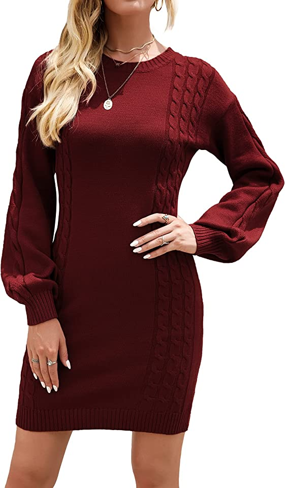 Women's Jumper Dress Long Sleeve Mini Sweater Dresses Casual Tunic Pullover Knitwear