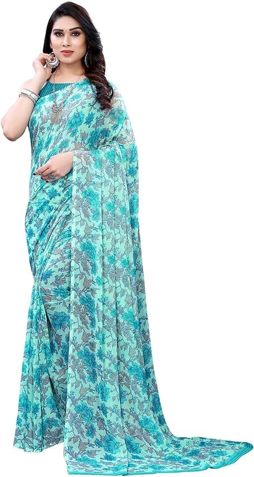 Indian Satrani Women's Chiffon Floral Printed Saree With Blouse Piece Saree