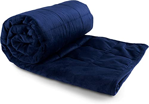"""high quality Kids Weighted Blanket - 2021 41"""" X lowest 60"""" - 10-lbs - No Cover Required - Throw/Twin Size Comforter - for 80-120-lb Toddler - Premium Glass Beads - Calming Stimulation Sensory Relaxation - Minky Navy Blue outlet sale"""