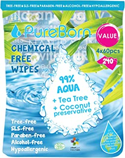 PureBorn Chemical Free Baby Wipes - Pack of 240 pcs