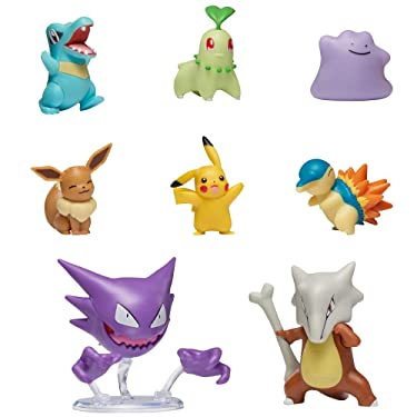 "Pokemon Battle Figure Multi 8 Pack, Featuring 2"" Cyndaquil, 2"" Chikorita, 2"" Totodile, 2"" Pikachu, 2"" Eevee, 2"" Ditto, 3"" Haunter, 3"" Marowak Battle Pack Toys, Gotta Catch 'Em All"