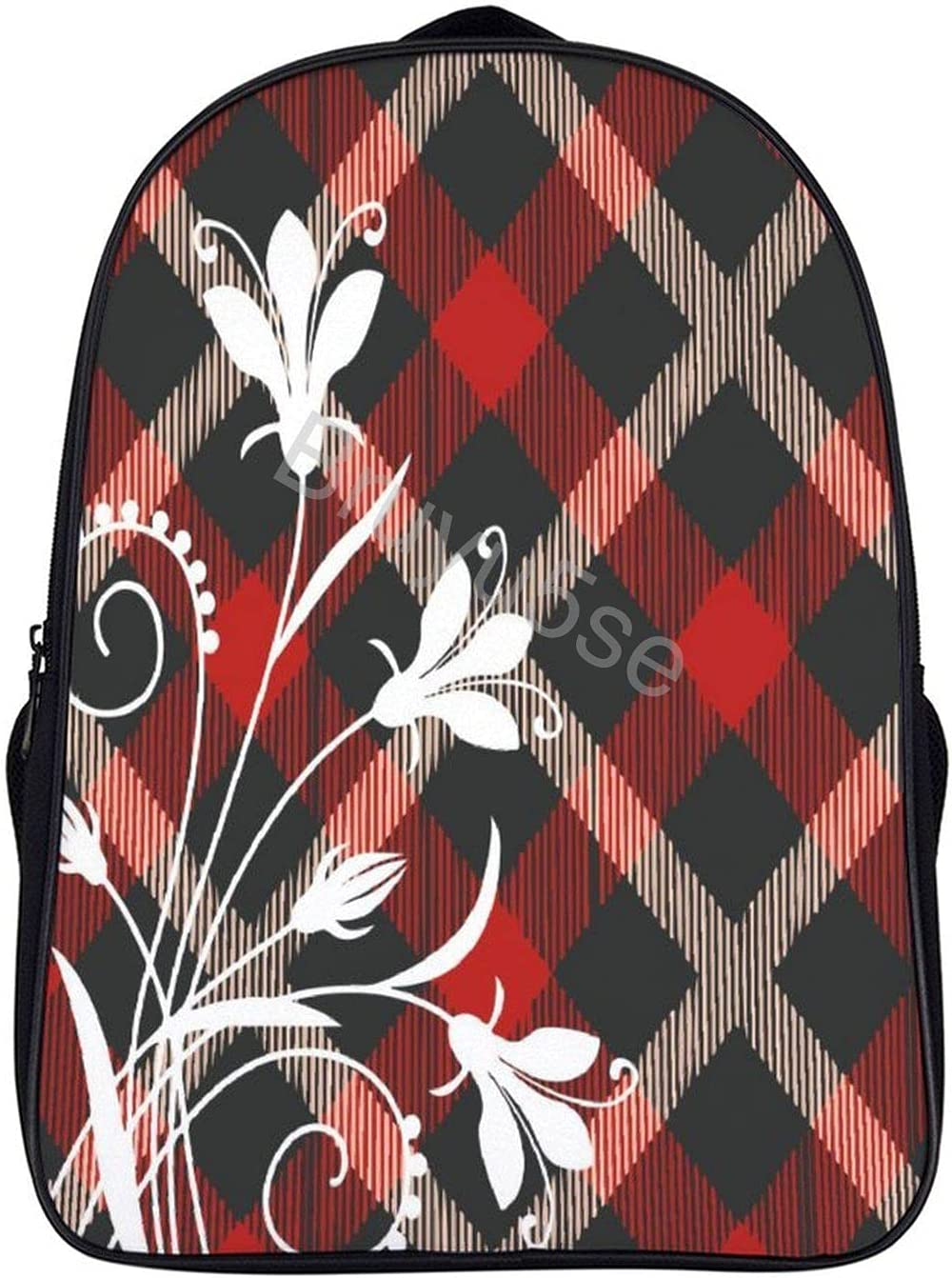 16in Travel Laptop Backpacks Abstract 35% OFF Free shipping New White Flowers Durab Plaid