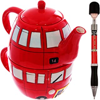 Ceramic London Red Bus Teapot & Cup Tea For One - Routemaster British Tea Set & Guardsman Pen