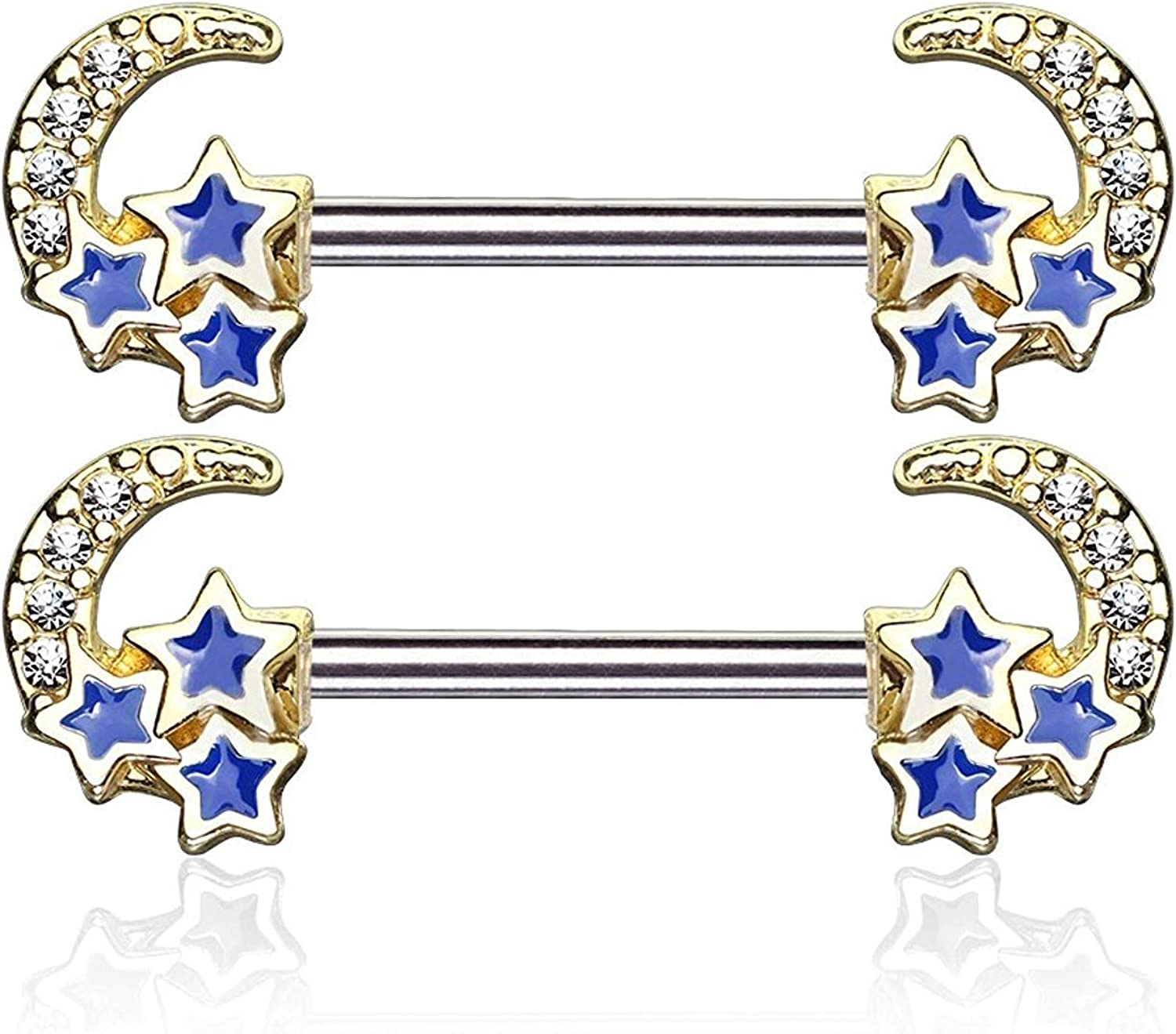 Covet Jewelry CZ Paved Crescent Moon with 3 Blue Stars 316L Surgical Steel Nipple Barbell Rings