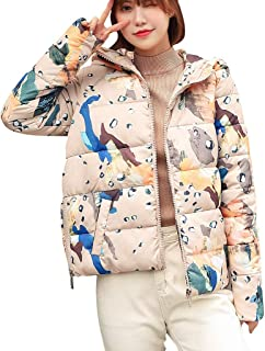 iHHAPY Women's Winter Jacket Quilted Jacket Hooded Coat Warm Lined Short Puffer Jacket Cartoon Print Transitional Jacket