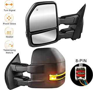 MOSTPLUS Power Heated Towing Mirrors for Ford F150 2015 2016 2017 w/Turn Signal-8 Pin Plug (Set of 2)