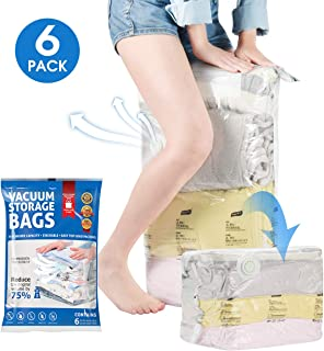 TOPELEK Vacuum Storage Bags,6 Pack Space Saver Bags 2019 Update Version, No Need for Hand-Pump,(3 20x28x12in & 3 26x20x12in) for Clothes, Pillows, Comforters, Bedding, Blankets, Double Zip Seal