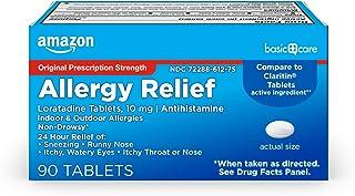 Amazon Basic Care Allergy Relief Loratadine Tablets 10 mg, Antihistamine, Allergy Medicine for 24 Hour Allergy Relief, 90 ...