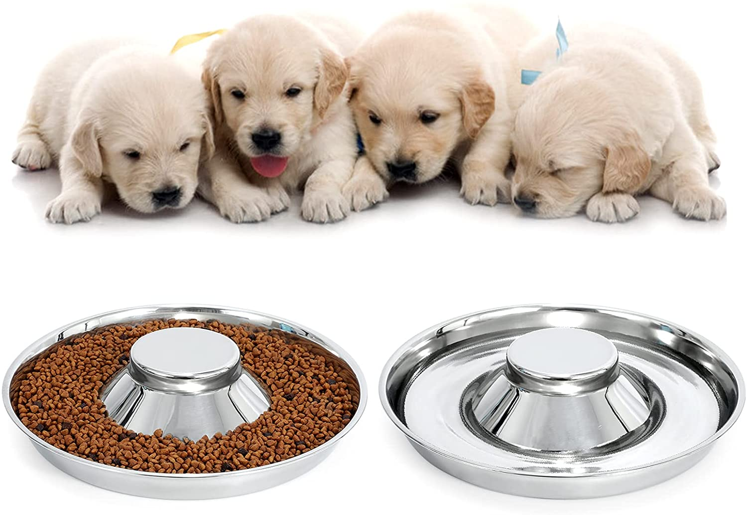 2-Piece Set Stainless Steel Puppy Bowls Whelping Weaning Special High material price