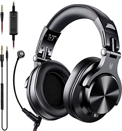 OneOdio A71 Over Ear Headphones with Mic, On-Line Volume & Share-Port Headsets for Gaming Office Phone Call DJ,Wired ...