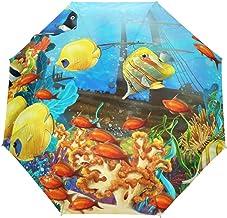 Mar Océano Mundo Dibujos Animados Colorido Arrecife de Coral Peces Fácil de Llevar Paraguas Viaje Bloqueador Solar Parasol Compacto A Prueba de Viento