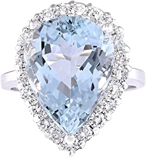 8.66 Carat Natural Blue Aquamarine and Diamond (F-G Color, VS1-VS2 Clarity) 14K White Gold Cocktail Ring for Women Exclusively Handcrafted in USA