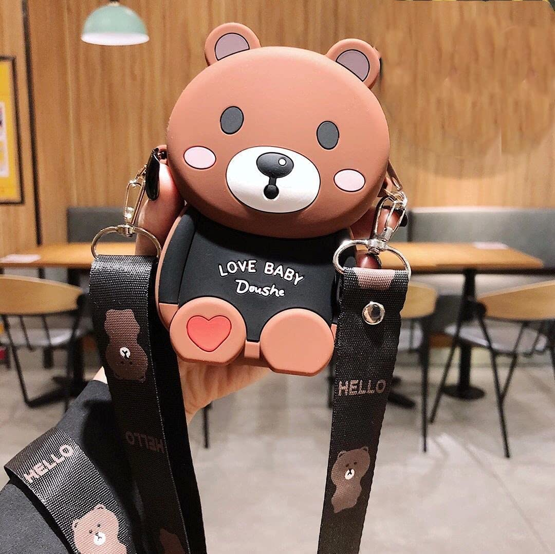 ISYSUII Cute Cartoon Design Case for iPhone 11 Pro Max 3D Bear Character Kawaii Girls Women Teens Soft Silicone Shockproof Rubber Cover Crossbody Card Holder Case with Kickstand,Brown