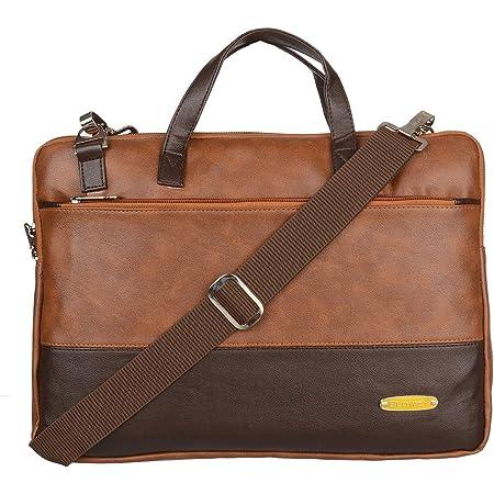 Blowzy Bags PU Leather 15.6 inch Laptop Shoulder Messenger Sling Office Bag for Men & Women – (Tan)