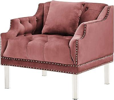 Iconic Home Elsa Club Chair Velvet Upholstered Button Tufted Nailhead Trim Slope Arm Design Acrylic Legs Modern Transitional, Blush