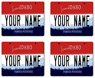 BleuReign(TM) Personalized Custom Name Idaho State License Plate Set of 4 Square Coasters