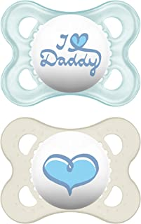 MAM Pacifiers, Baby Pacifier 0-6 Months, Best Pacifier for Breastfed Babies, 'I Love Daddy' Design Collection, Boy, 2-Count