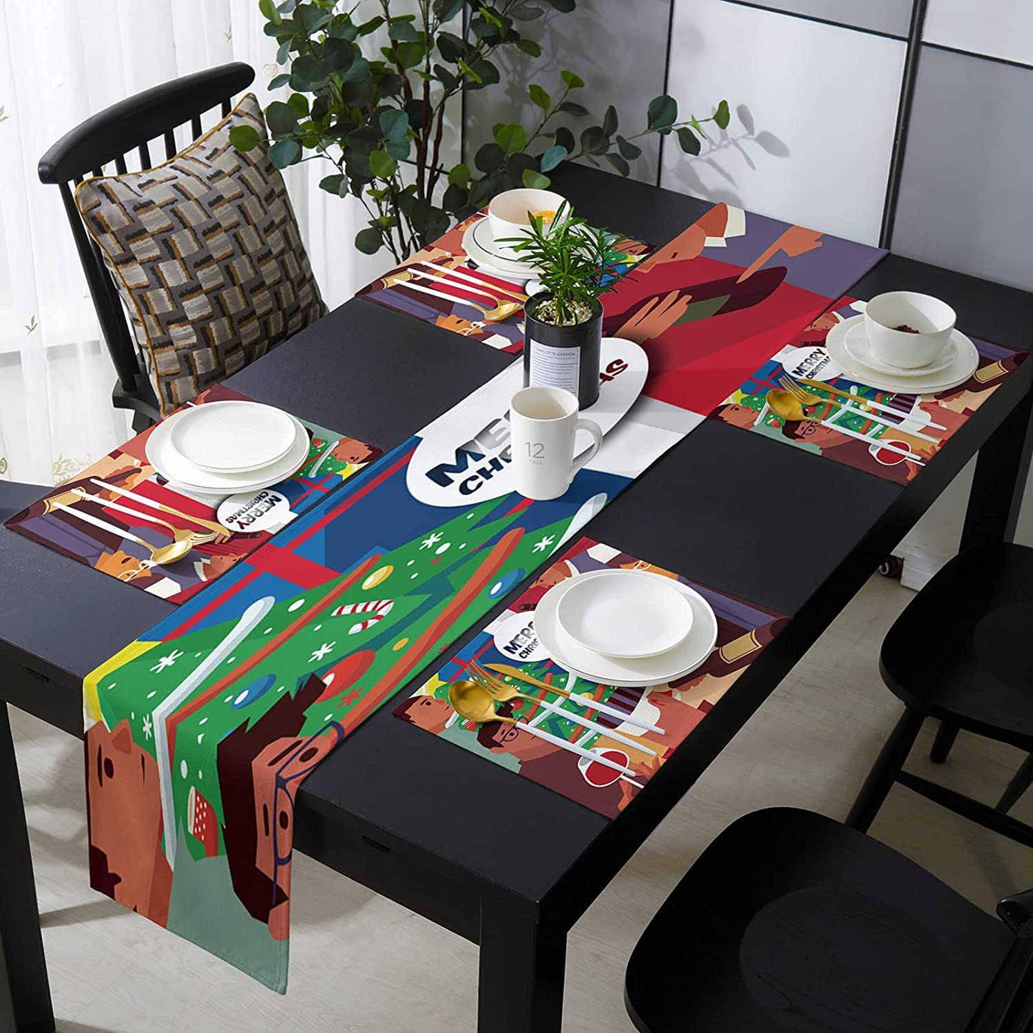 KAROLA Table Baltimore Mall Runner and Placemats Set Christmas Mail order 4 Kitch of Merry