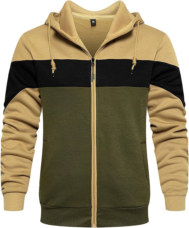 LEIYAN Mens Fleece Jacket Casual Long Sleeve Colorblock Zip Up Thermal Hoodie Heavyweight Warm Flannel Coat