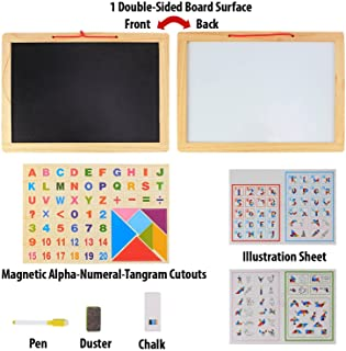 Wooden Frame Double Sided Magnetic Whiteboard & Black Slate with Alphanumeric, Mathematical Signs and Tangram